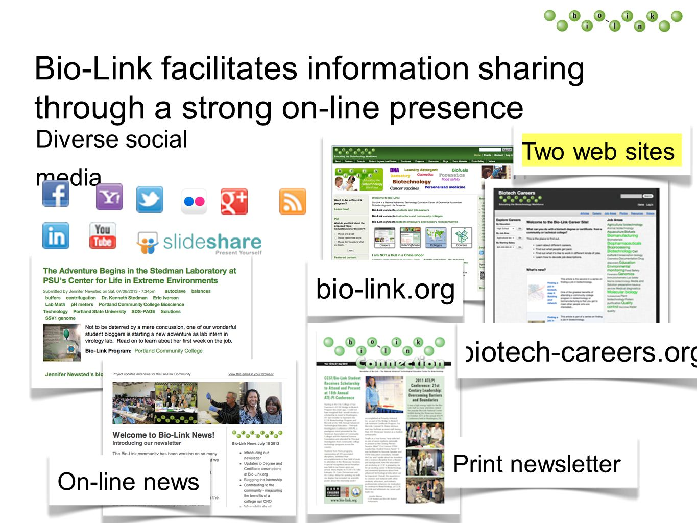 Bio-Link facilitates information sharing through a strong on-line presence Diverse social media Two web sites bio-link.org On-line newsPrint newsletter biotech-careers.org