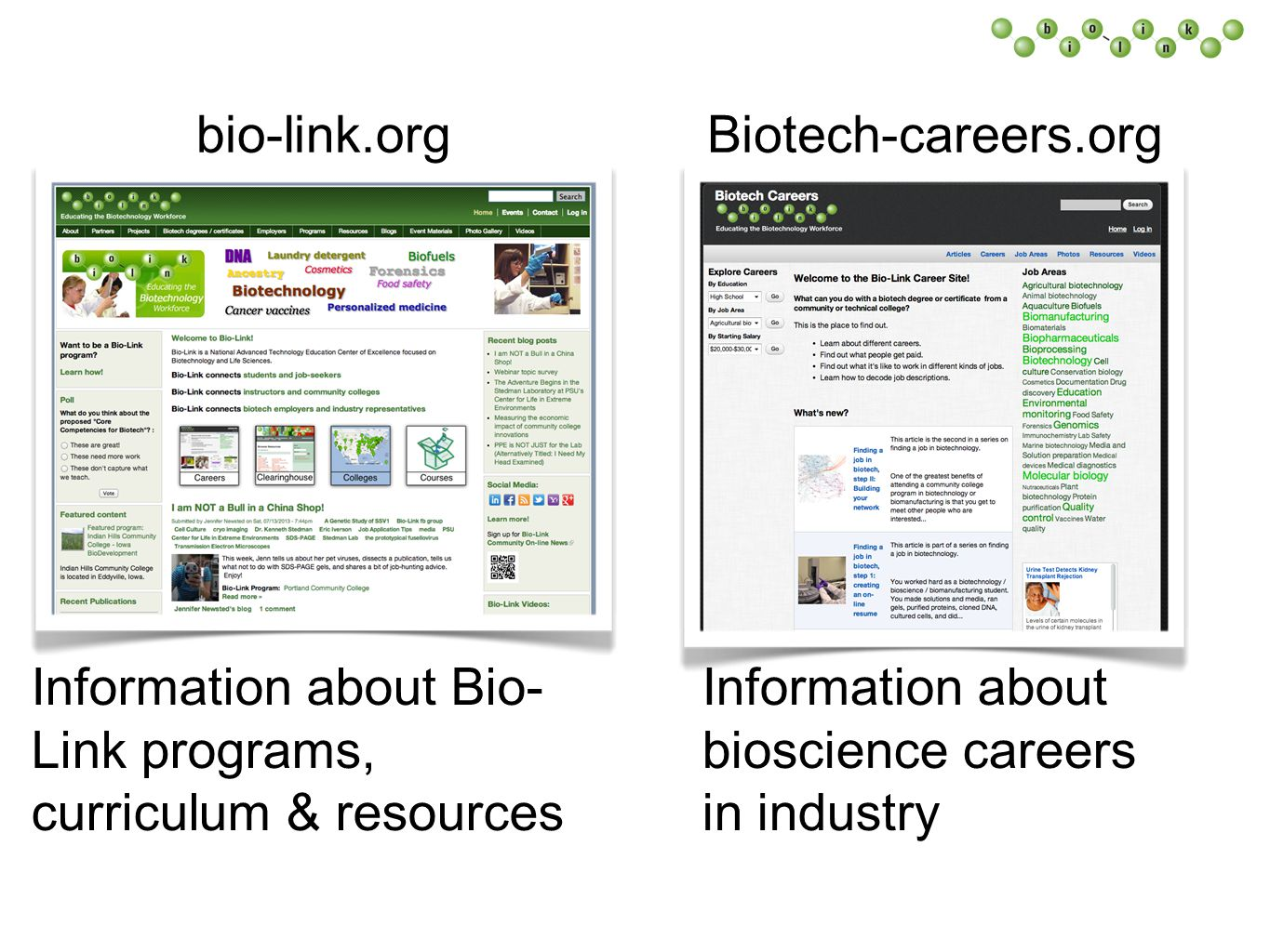 Biotech-careers.orgbio-link.org Information about Bio- Link programs, curriculum & resources Information about bioscience careers in industry