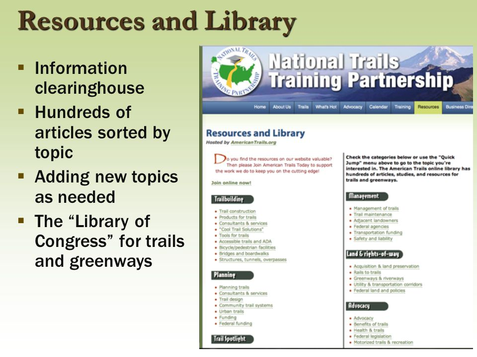 "Resources and Library  Information clearinghouse  Hundreds of articles sorted by topic  Adding new topics as needed  The ""Library of Congress"" for"