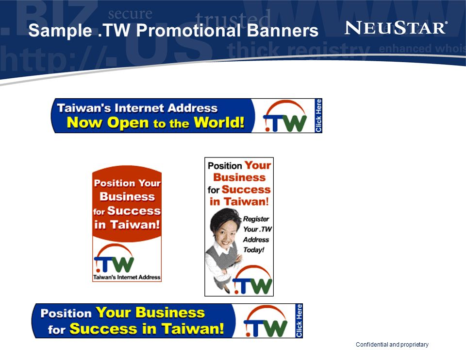 Confidential and proprietary Sample.TW Promotional Banners