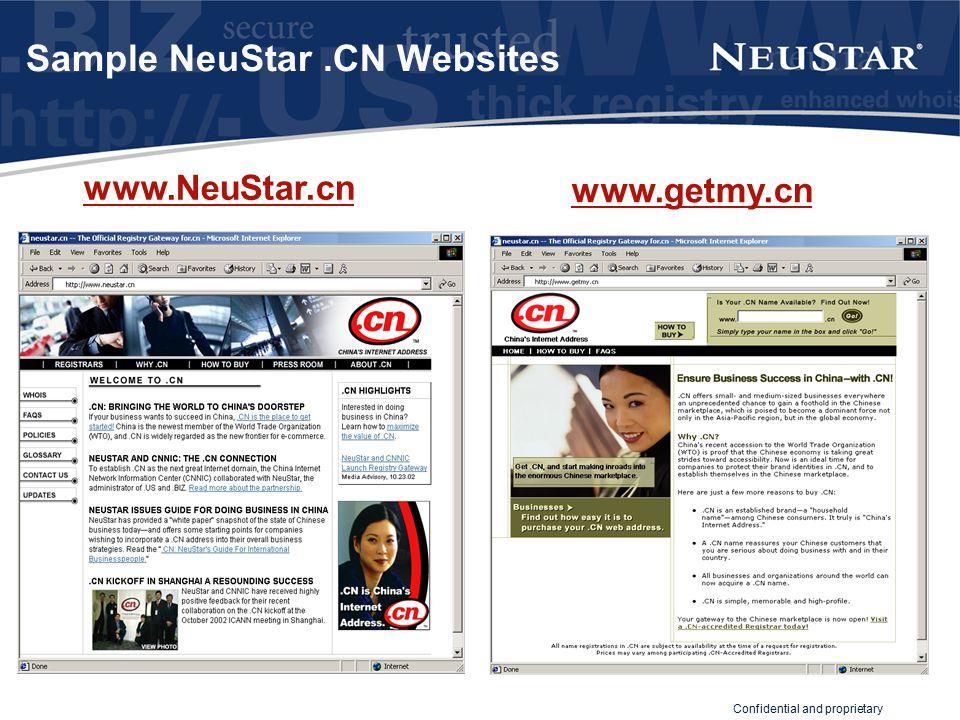 Confidential and proprietary Sample NeuStar.CN Websites www.NeuStar.cn www.getmy.cn