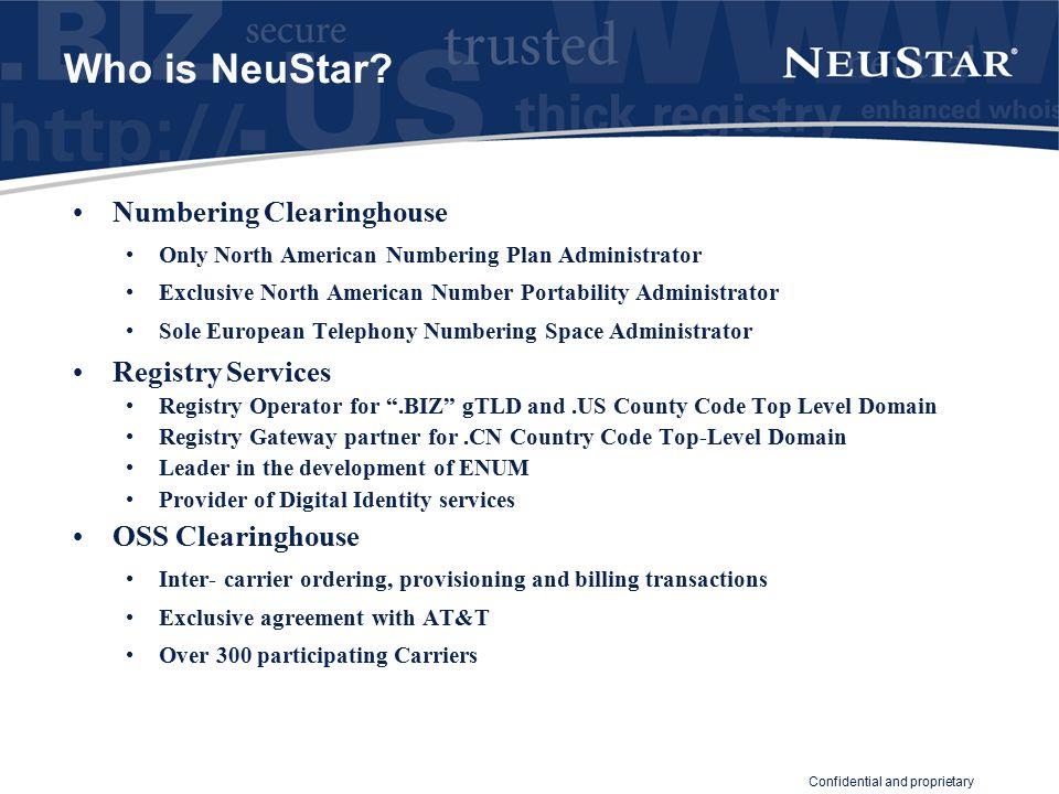 Confidential and proprietary Why NeuStar Partnership.