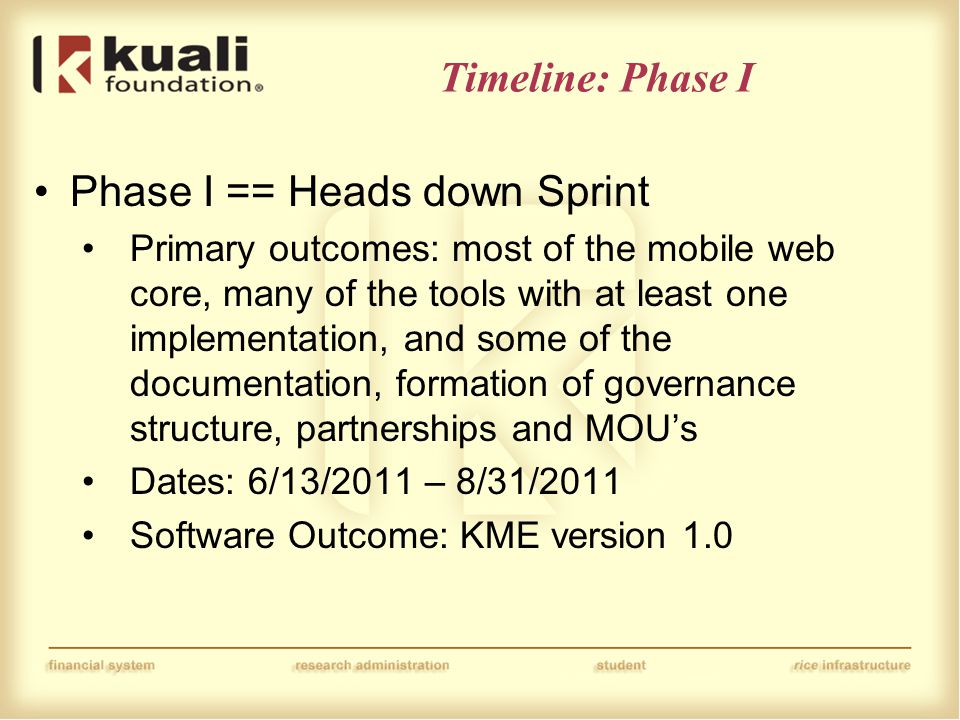 Timeline: Phase I Phase I == Heads down Sprint Primary outcomes: most of the mobile web core, many of the tools with at least one implementation, and some of the documentation, formation of governance structure, partnerships and MOU's Dates: 6/13/2011 – 8/31/2011 Software Outcome: KME version 1.0