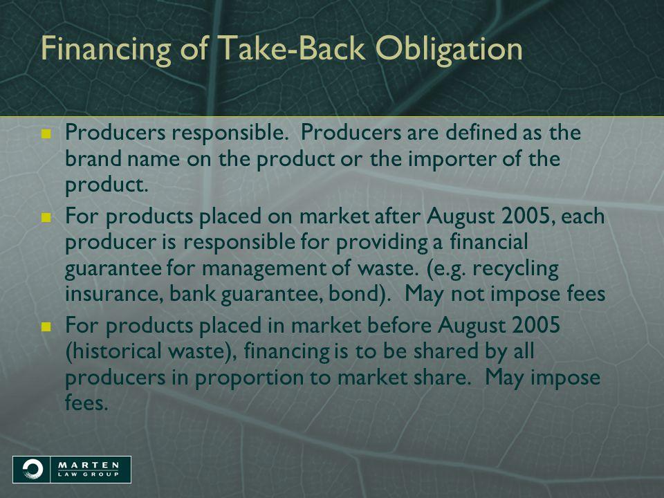 Financing of Take-Back Obligation Producers responsible.