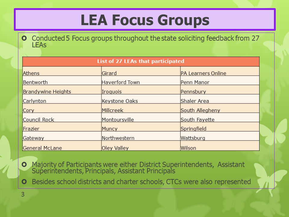 LEA Focus Groups  Conducted 5 Focus groups throughout the state soliciting feedback from 27 LEAs  Majority of Participants were either District Supe
