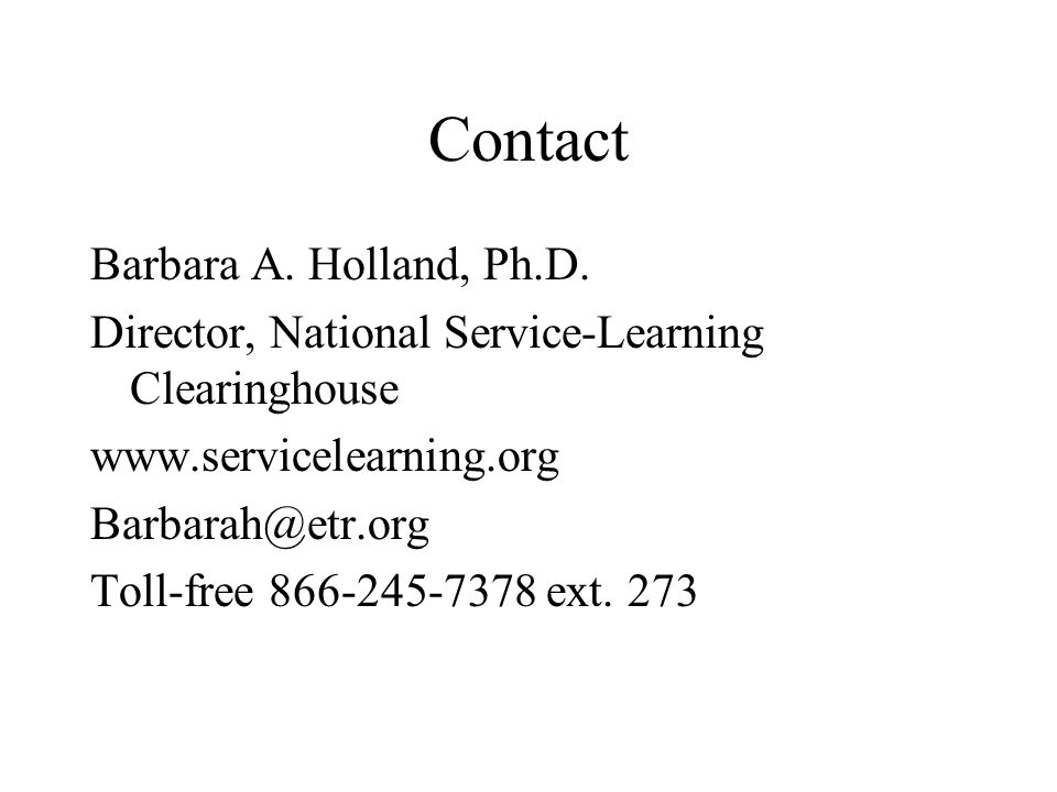 Contact Barbara A. Holland, Ph.D.