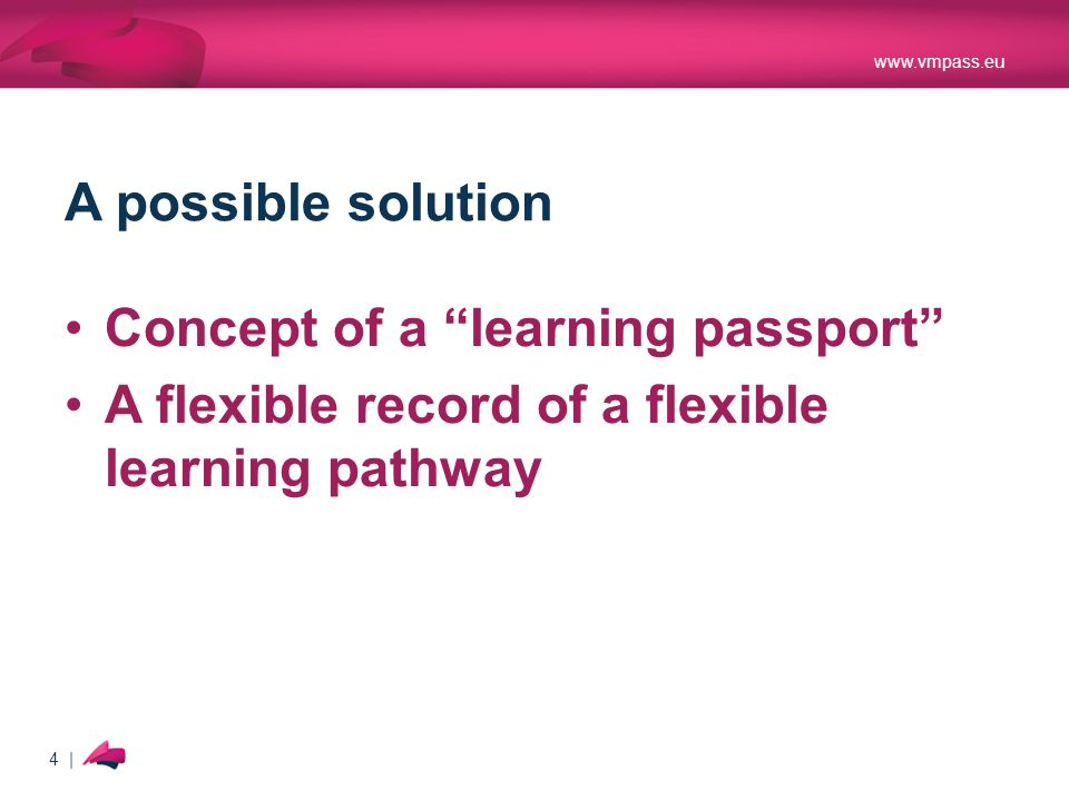 "www.vmpass.eu 4 | A possible solution Concept of a ""learning passport"" A flexible record of a flexible learning pathway"