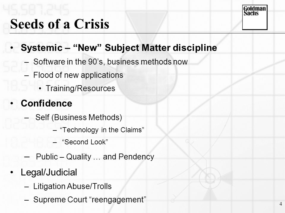 4 Seeds of a Crisis Systemic – New Subject Matter discipline –Software in the 90's, business methods now –Flood of new applications Training/Resources Confidence – Self (Business Methods) – Technology in the Claims – Second Look – Public – Quality … and Pendency Legal/Judicial –Litigation Abuse/Trolls –Supreme Court reengagement