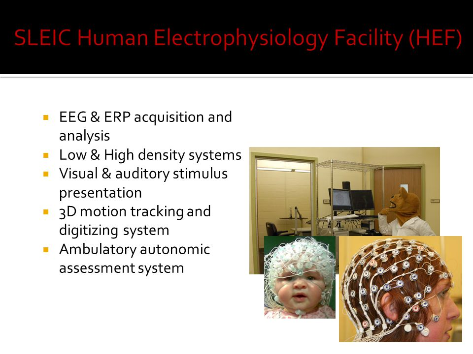  EEG & ERP acquisition and analysis  Low & High density systems  Visual & auditory stimulus presentation  3D motion tracking and digitizing system  Ambulatory autonomic assessment system