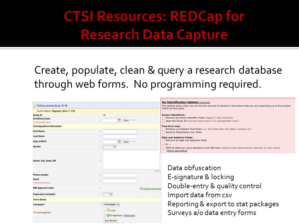 Create, populate, clean & query a research database through web forms.