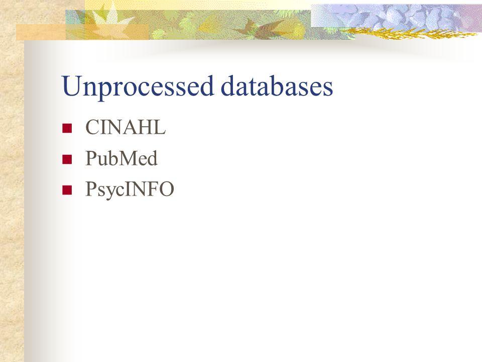 Unprocessed databases CINAHL PubMed PsycINFO