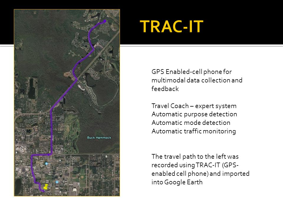 GPS Enabled-cell phone for multimodal data collection and feedback Travel Coach – expert system Automatic purpose detection Automatic mode detection Automatic traffic monitoring The travel path to the left was recorded using TRAC-IT (GPS- enabled cell phone) and imported into Google Earth