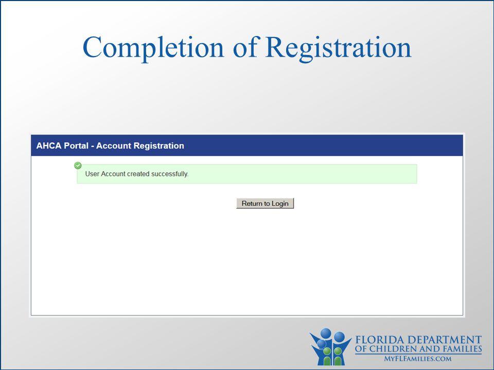 Completion of Registration