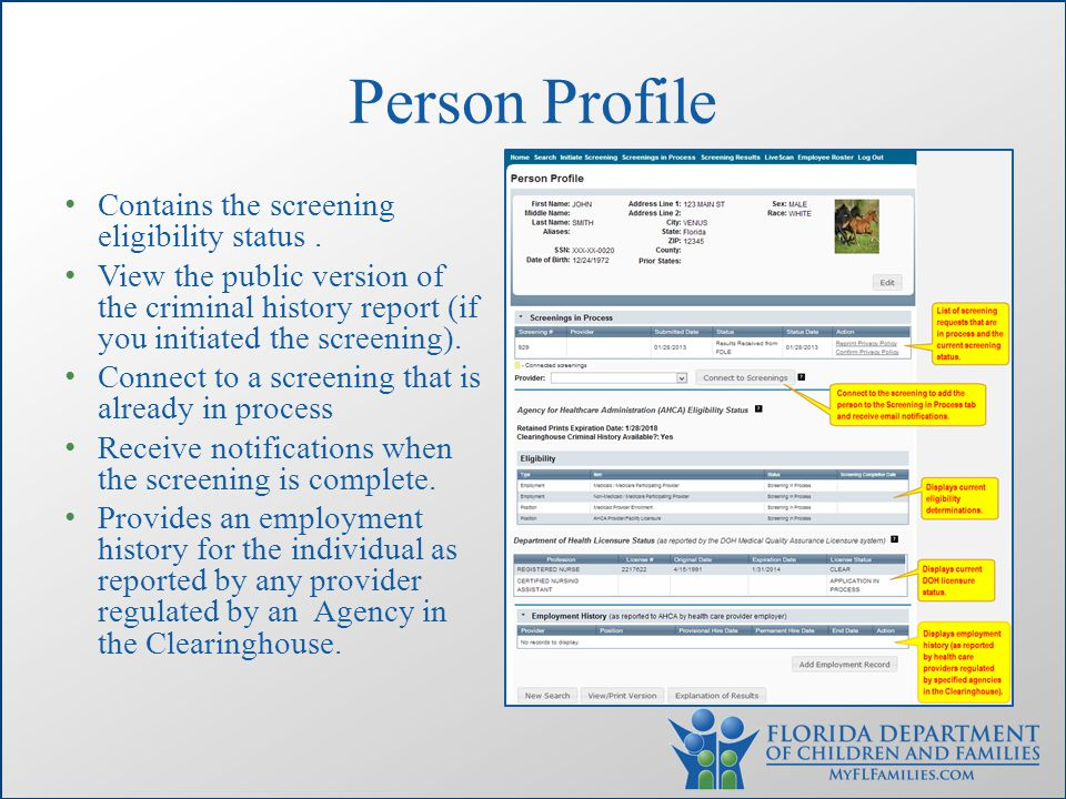 Person Profile Contains the screening eligibility status.
