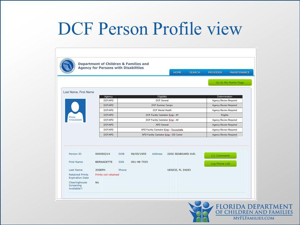 DCF Person Profile view