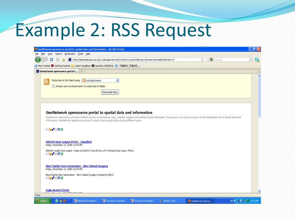 Example 2: RSS Request