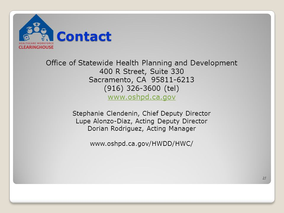25 Contact Office of Statewide Health Planning and Development 400 R Street, Suite 330 Sacramento, CA 95811-6213 (916) 326-3600 (tel) www.oshpd.ca.gov Stephanie Clendenin, Chief Deputy Director Lupe Alonzo-Diaz, Acting Deputy Director Dorian Rodriguez, Acting Manager www.oshpd.ca.gov/HWDD/HWC/