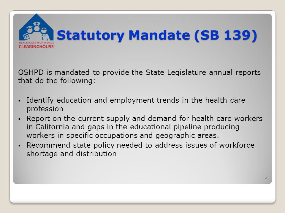 Statutory Mandate (SB 139) OSHPD is mandated to provide the State Legislature annual reports that do the following:  Identify education and employment trends in the health care profession  Report on the current supply and demand for health care workers in California and gaps in the educational pipeline producing workers in specific occupations and geographic areas.