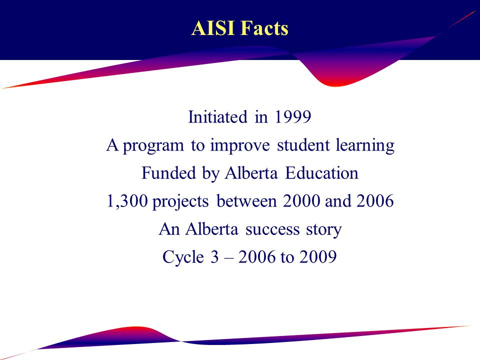 AISI Attributes 1.Partnership 2.Catalyst 3.Student focused 4.Flexibility 5.Collaboration 6.Culture of Continuous Improvement 7.Evidence-based Practice 8.Research-based Interventions 9.Inquiry and Reflection 10.Building Capacity and Sustainability 11.Knowledge