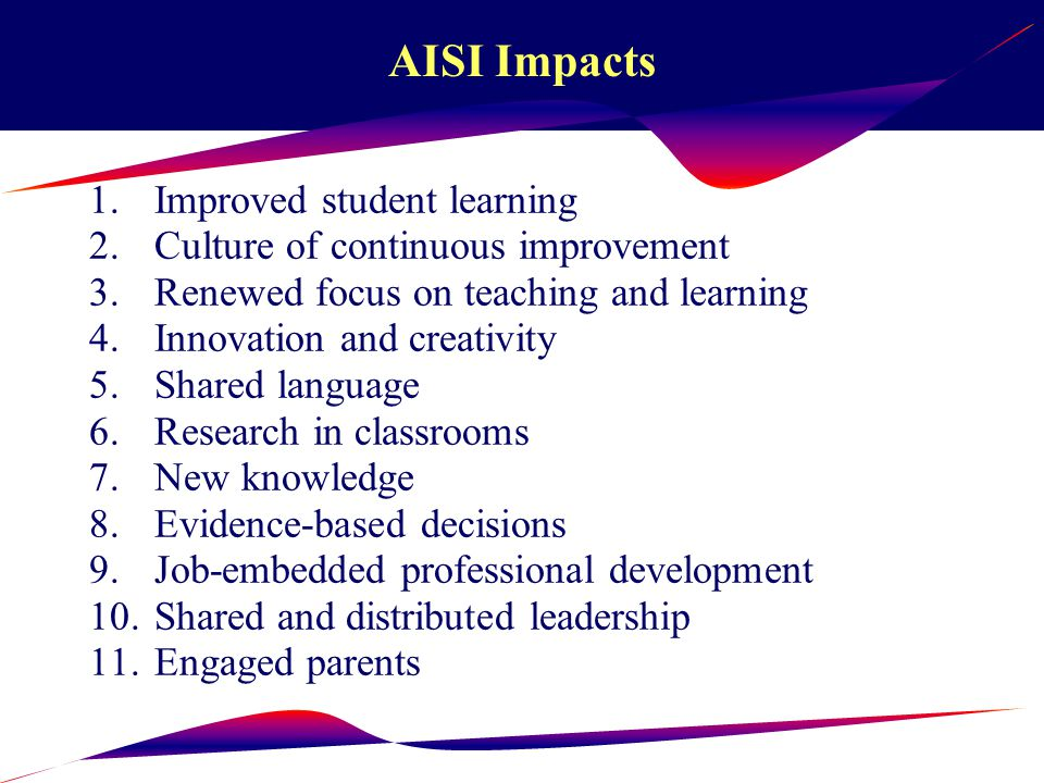 External Comments About AISI Taylor & Tubianosa (2001) Alberta's AISI (along with programs in Ontario and Quebec) are exemplars of how provinces can link assessment and school improvement to transforming results into plans of action.