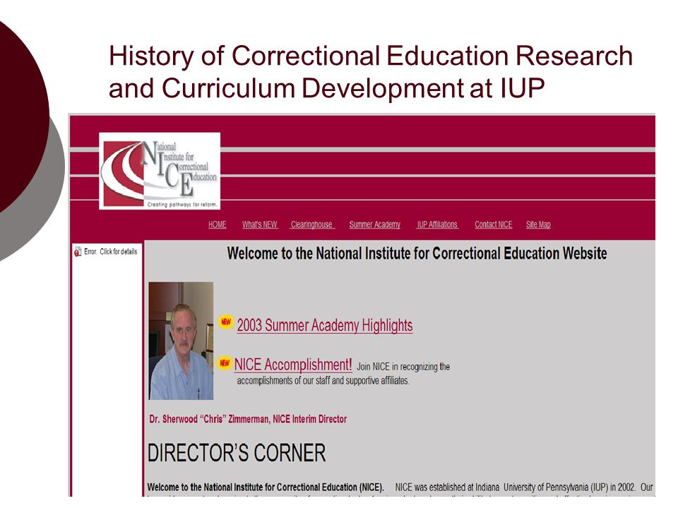 History of Correctional Education Research and Curriculum Development at IUP