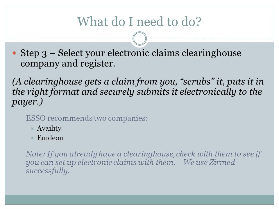 What do I need to do. Step 3 – Select your electronic claims clearinghouse company and register.