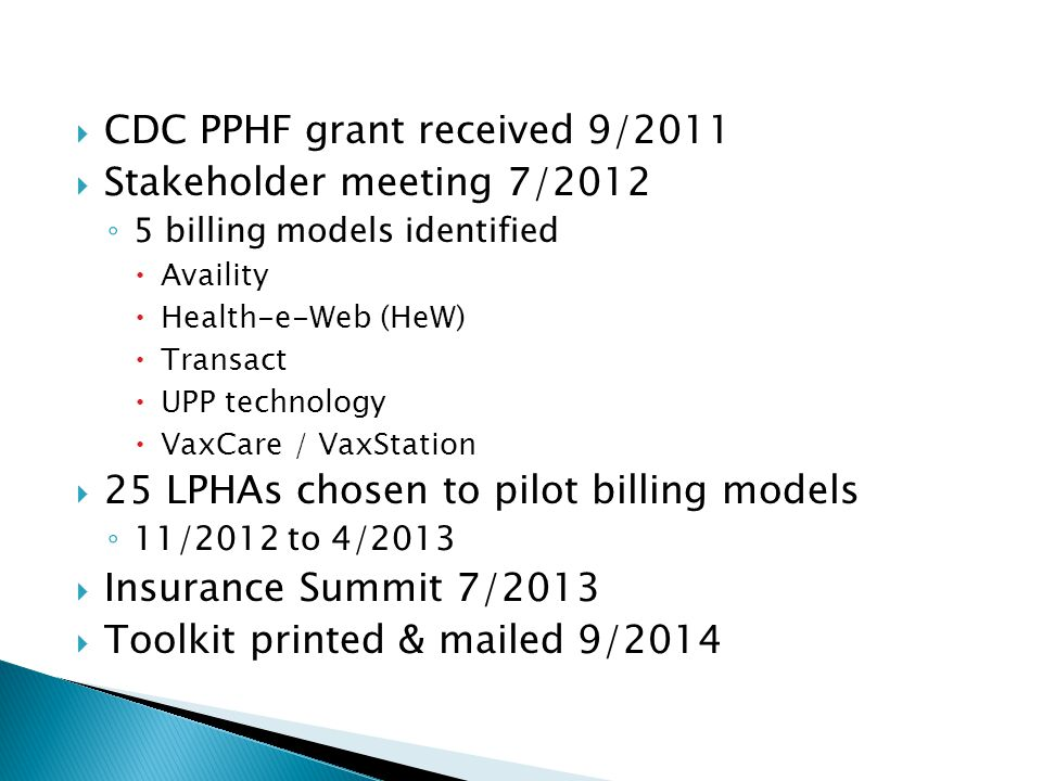  CDC PPHF grant received 9/2011  Stakeholder meeting 7/2012 ◦ 5 billing models identified  Availity  Health-e-Web (HeW)  Transact  UPP technology  VaxCare / VaxStation  25 LPHAs chosen to pilot billing models ◦ 11/2012 to 4/2013  Insurance Summit 7/2013  Toolkit printed & mailed 9/2014