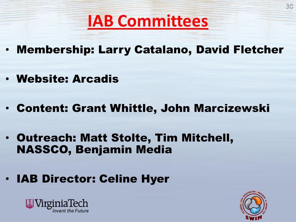 IAB Committees Membership: Larry Catalano, David Fletcher Website: Arcadis Content: Grant Whittle, John Marcizewski Outreach: Matt Stolte, Tim Mitchel