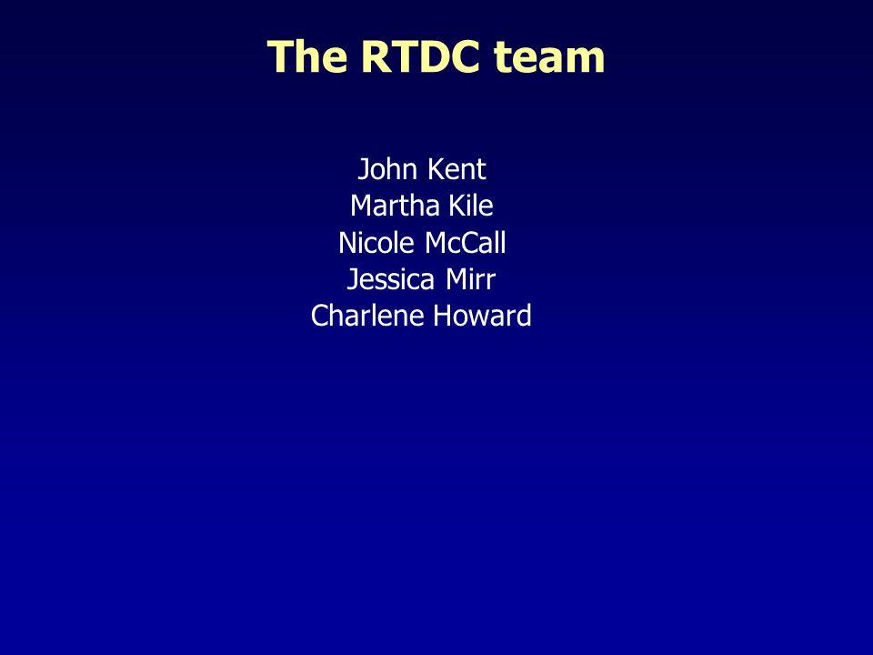 The RTDC team John Kent Martha Kile Nicole McCall Jessica Mirr Charlene Howard