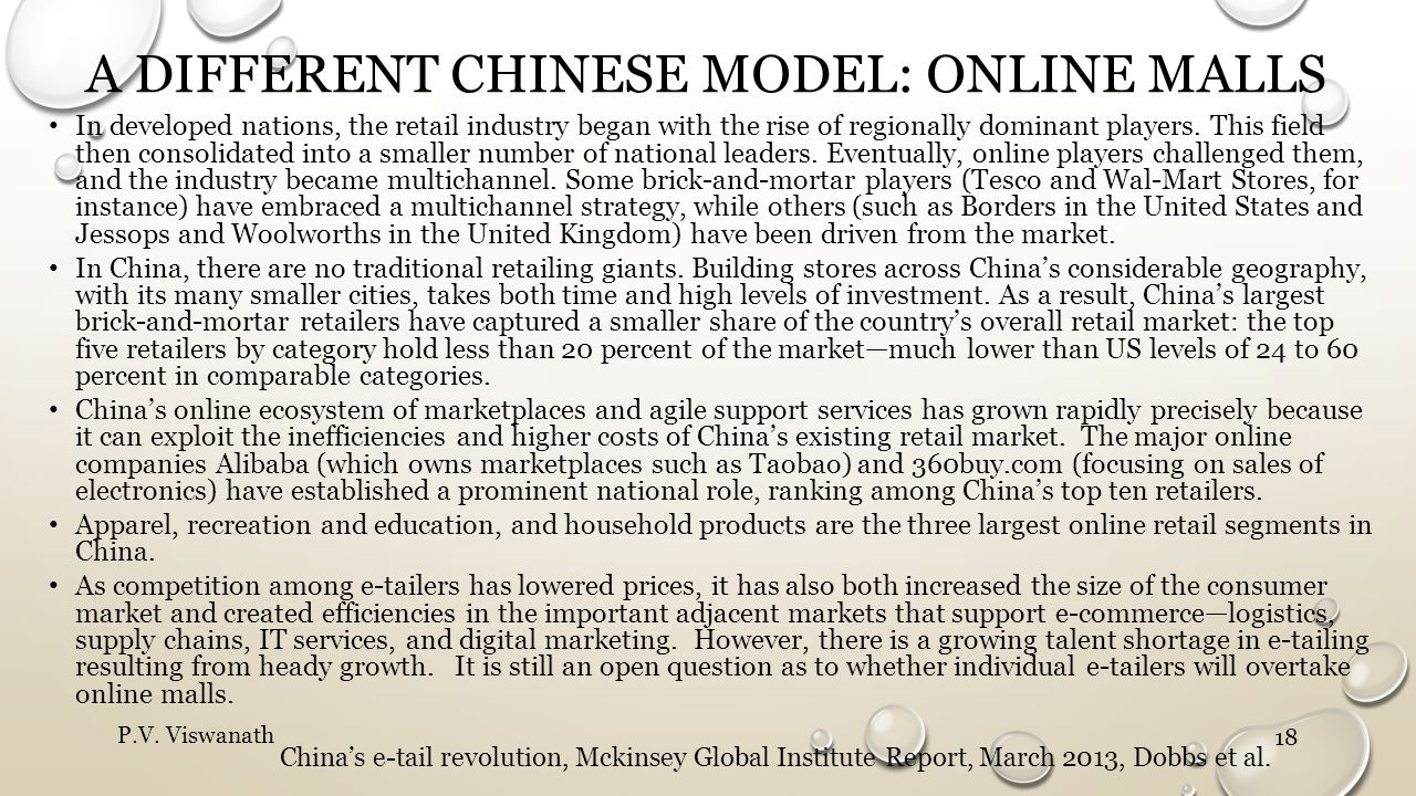 A DIFFERENT CHINESE MODEL: ONLINE MALLS In developed nations, the retail industry began with the rise of regionally dominant players. This field then