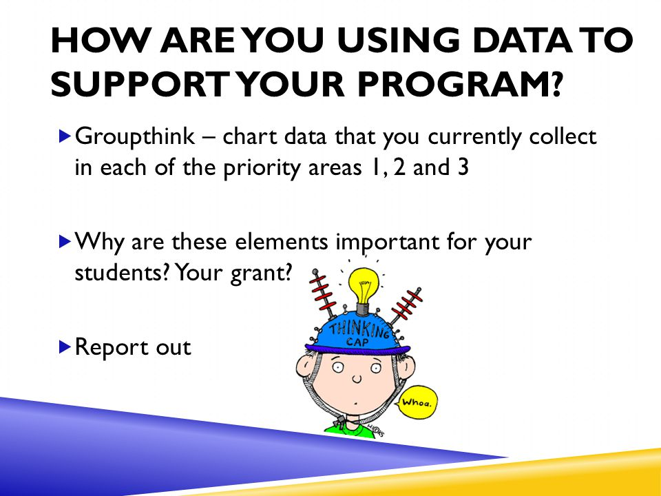 HOW ARE YOU USING DATA TO SUPPORT YOUR PROGRAM?  Groupthink – chart data that you currently collect in each of the priority areas 1, 2 and 3  Why ar