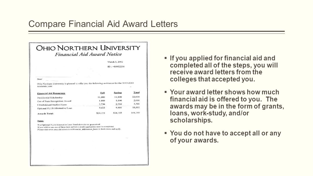 Compare Financial Aid Award Letters  If you applied for financial aid and completed all of the steps, you will receive award letters from the colleges that accepted you.
