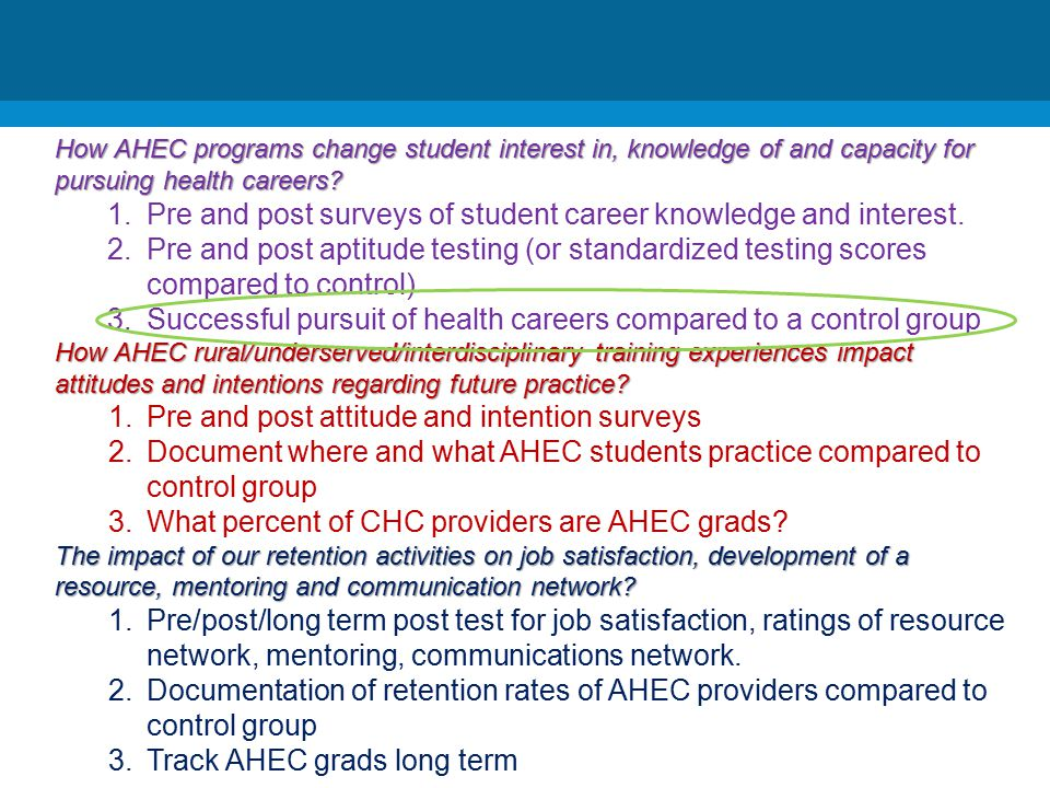 How AHEC programs change student interest in, knowledge of and capacity for pursuing health careers.
