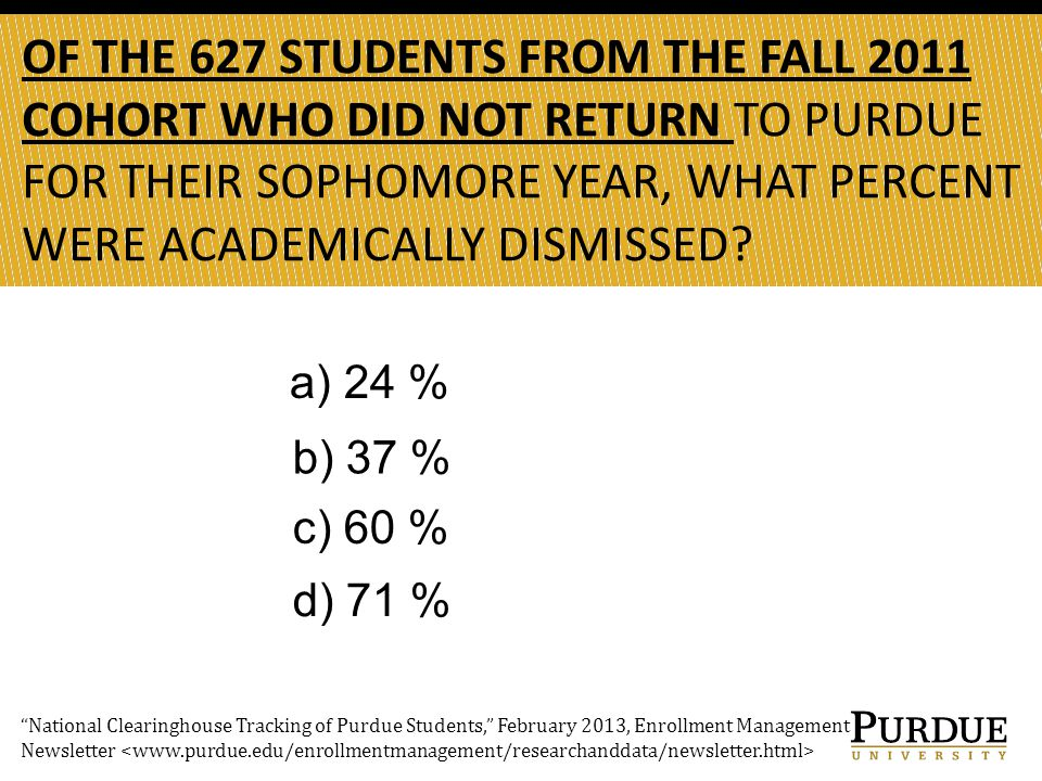 OF THE 627 STUDENTS FROM THE FALL 2011 COHORT WHO DID NOT RETURN TO PURDUE FOR THEIR SOPHOMORE YEAR, WHAT PERCENT WERE ACADEMICALLY DISMISSED.