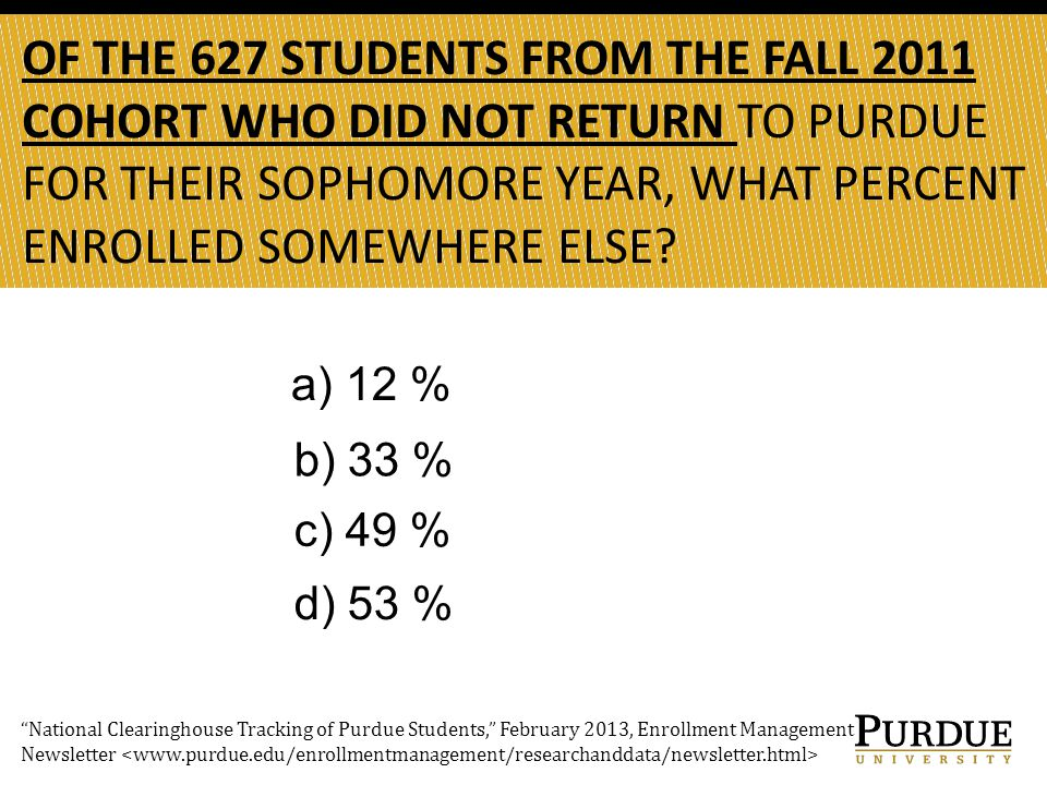 OF THE 627 STUDENTS FROM THE FALL 2011 COHORT WHO DID NOT RETURN TO PURDUE FOR THEIR SOPHOMORE YEAR, WHAT PERCENT ENROLLED SOMEWHERE ELSE.