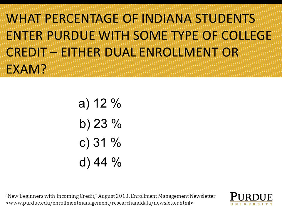 WHAT PERCENTAGE OF INDIANA STUDENTS ENTER PURDUE WITH SOME TYPE OF COLLEGE CREDIT – EITHER DUAL ENROLLMENT OR EXAM.