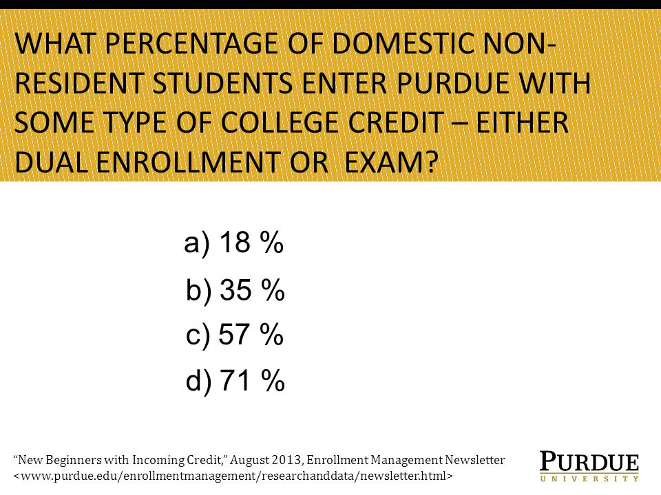 WHAT PERCENTAGE OF DOMESTIC NON- RESIDENT STUDENTS ENTER PURDUE WITH SOME TYPE OF COLLEGE CREDIT – EITHER DUAL ENROLLMENT OR EXAM.
