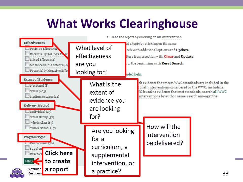 National Center on Response to Intervention What Works Clearinghouse 33 Click here to create a report What level of effectiveness are you looking for.