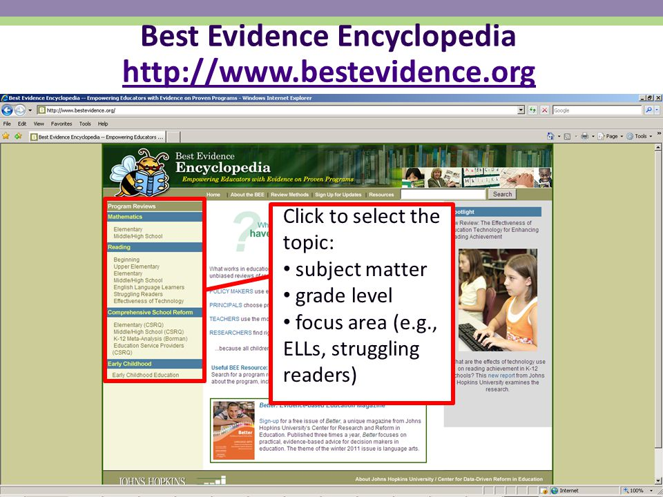 National Center on Response to Intervention Best Evidence Encyclopedia http://www.bestevidence.org http://www.bestevidence.org Click to select the topic: subject matter grade level focus area (e.g., ELLs, struggling readers)