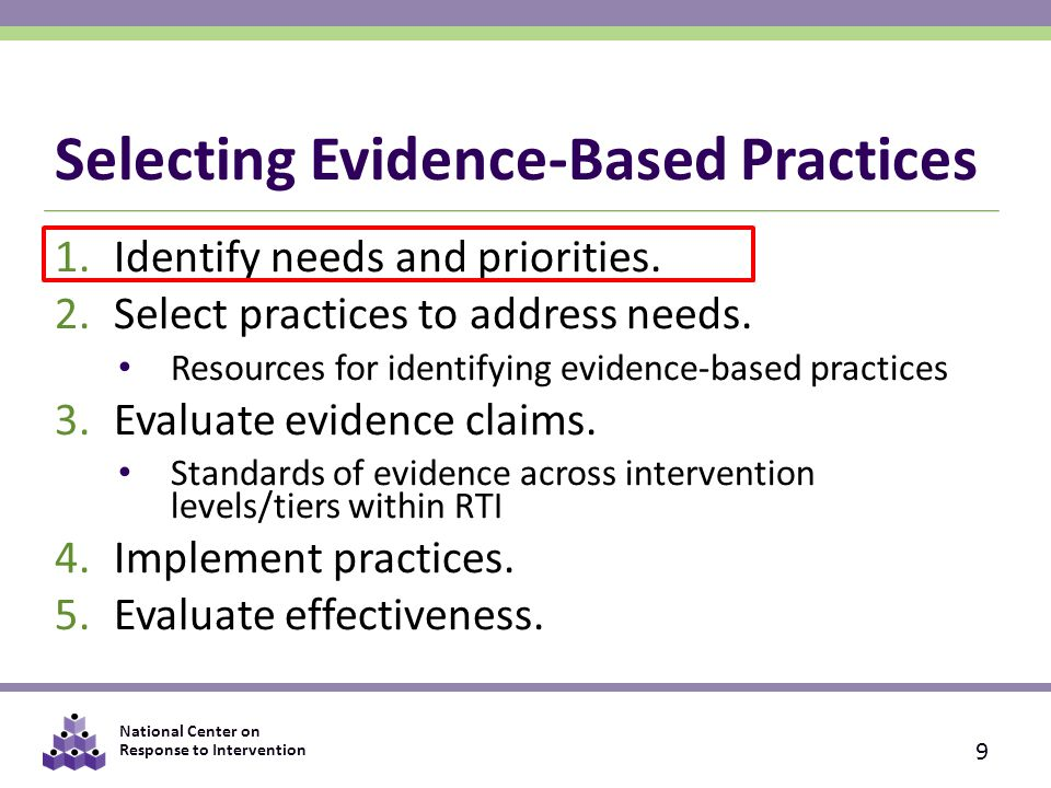 National Center on Response to Intervention 1) Identify Needs and Priorities 1.Gather a team.