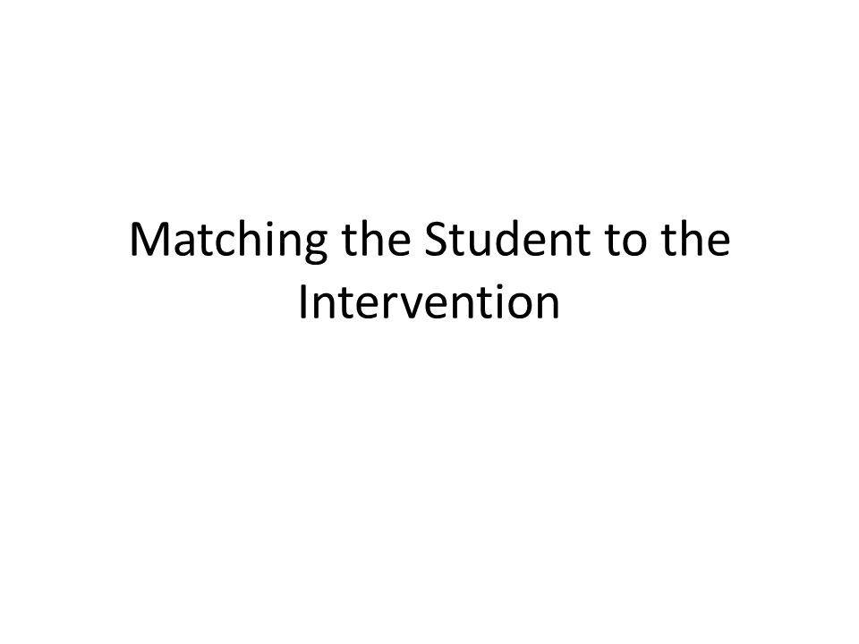 Matching the Student to the Intervention