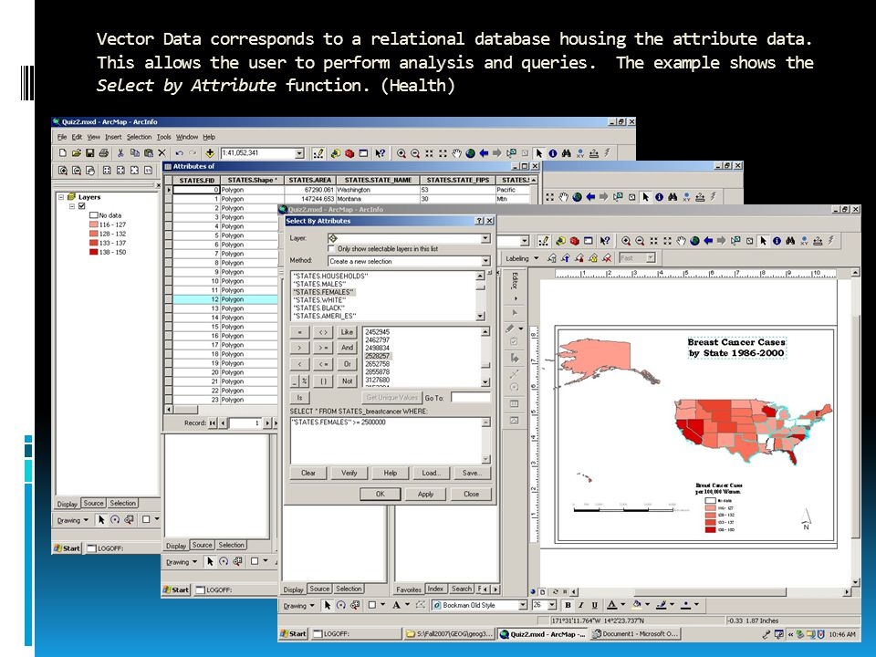 Vector Data corresponds to a relational database housing the attribute data.