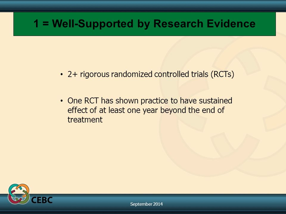 2+ rigorous randomized controlled trials (RCTs) One RCT has shown practice to have sustained effect of at least one year beyond the end of treatment 1 = Well-Supported by Research Evidence September 2014