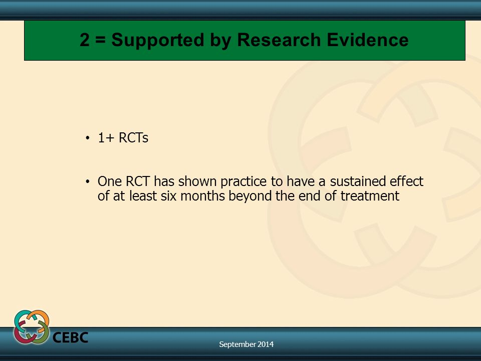 1+ RCTs One RCT has shown practice to have a sustained effect of at least six months beyond the end of treatment 2 = Supported by Research Evidence September 2014