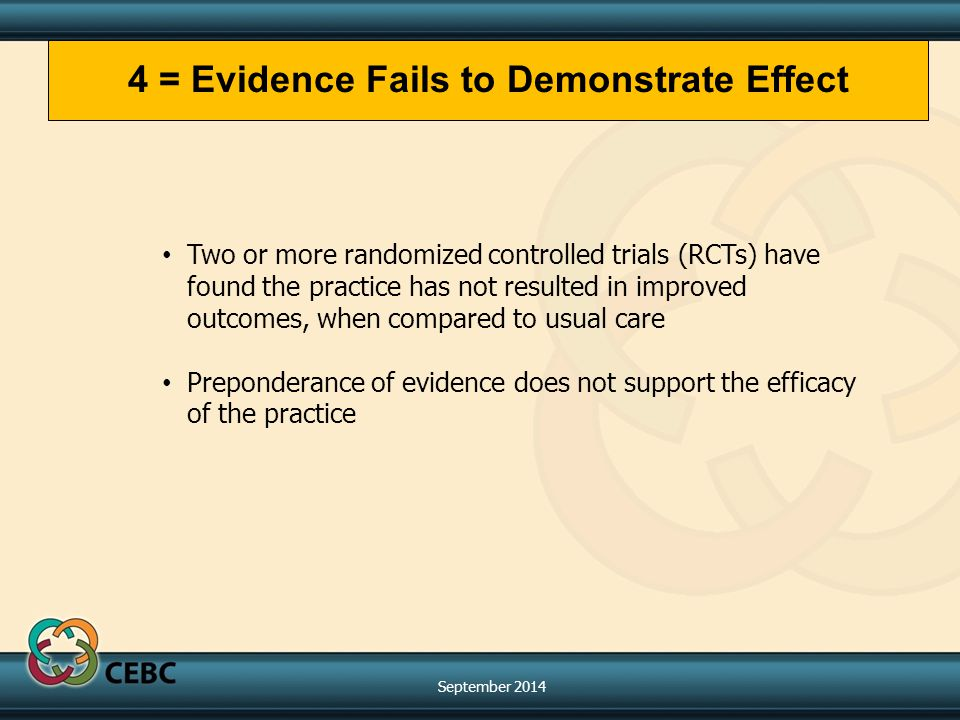 Two or more randomized controlled trials (RCTs) have found the practice has not resulted in improved outcomes, when compared to usual care Preponderance of evidence does not support the efficacy of the practice 4 = Evidence Fails to Demonstrate Effect September 2014