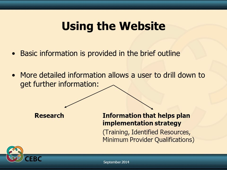 Using the Website Basic information is provided in the brief outline More detailed information allows a user to drill down to get further information: Research Information that helps plan implementation strategy (Training, Identified Resources, Minimum Provider Qualifications) September 2014