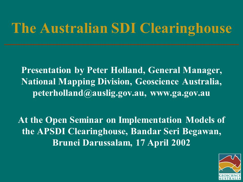 Outline of Presentation Responsibilities for clearinghouse implementation Clearinghouse model Progress to date Plans for the future Conclusion