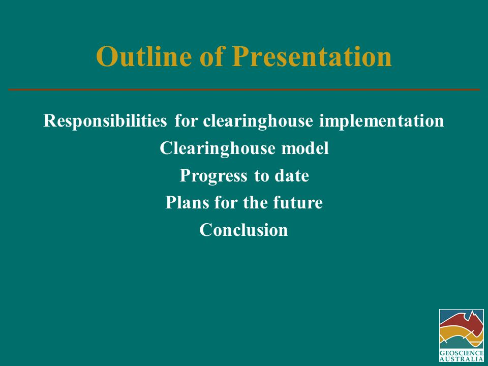 Responsibilities for Clearinghouse Implementation - Nationally The Australia New Zealand Land Information Council Strategic plan 2000-2005 goal to develop a national clearinghouse SDI Standing Committee developing the conceptual model, supported by metadata working group and other stakeholders Federal, State and Territory governments Coordinated by State/ Territory coordination committees www.anzlic.org.au