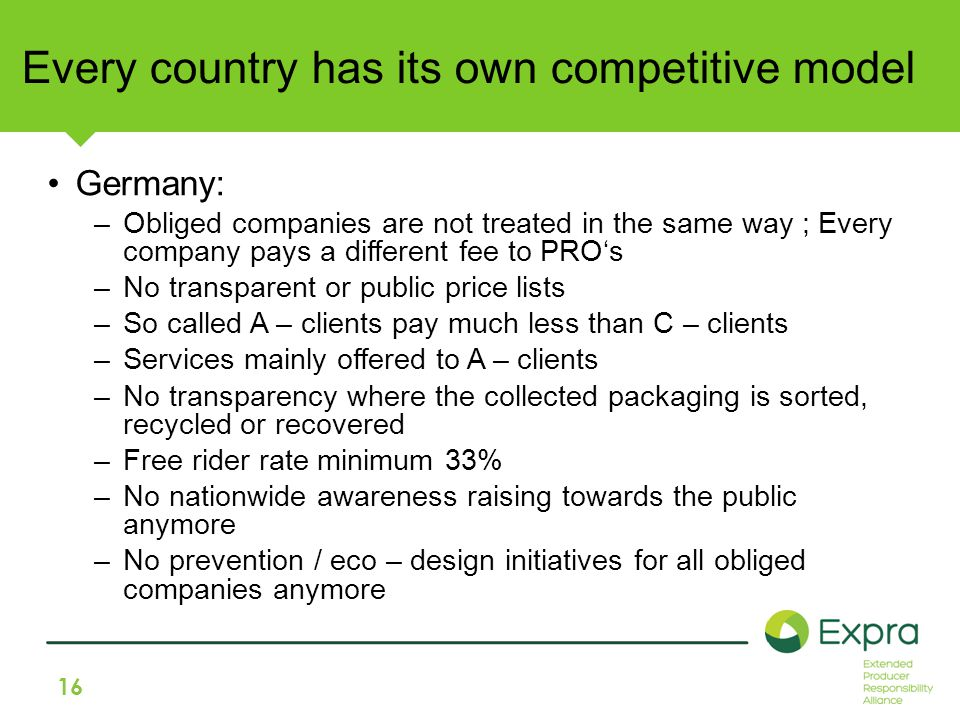 16 Every country has its own competitive model Germany: –Obliged companies are not treated in the same way ; Every company pays a different fee to PRO's –No transparent or public price lists –So called A – clients pay much less than C – clients –Services mainly offered to A – clients –No transparency where the collected packaging is sorted, recycled or recovered –Free rider rate minimum 33% –No nationwide awareness raising towards the public anymore –No prevention / eco – design initiatives for all obliged companies anymore