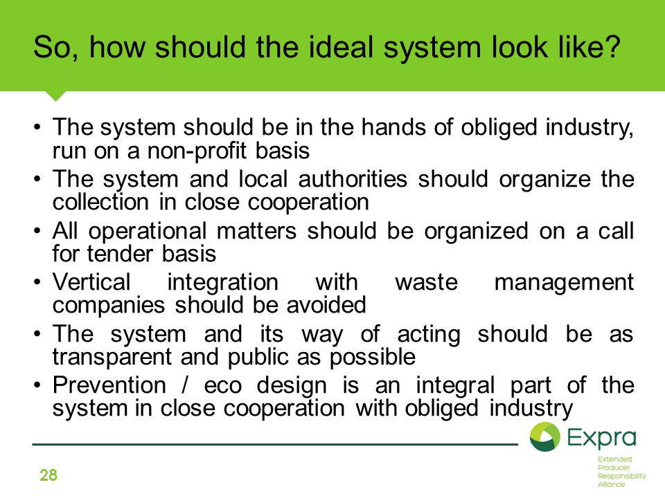 28 So, how should the ideal system look like.